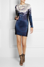 DION LEE Cyclone-print silk and matte-satin dress
