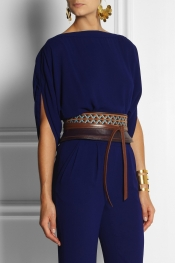 DIANE VON FURSTENBERG Embroidered leather obi belt