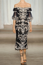MARCHESA Embroidered tulle dress