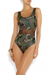 BETH RICHARDS Lucy camo-print mesh-paneled swimsuit