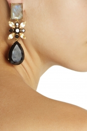 BOUNKIT Gold-plated multi-stone clip earrings