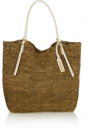 MICHAEL KORS Santorini leather-trimmed raffia tote