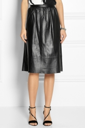 THEORY Leather A-line skirt