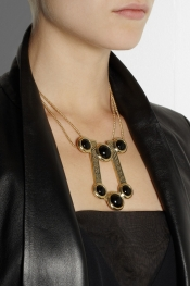 PAMELA LOVE Comet gold-tone onyx necklace