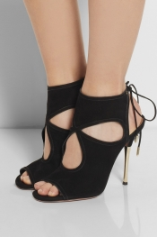 AQUAZZURA Cutout suede sandals