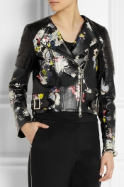 ERDEM Jade floral-print nappa leather biker jacket