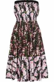 GIVENCHY Printed cotton-poplin bustier dress