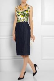DOLCE & GABBANA Floral-print cotton-blend poplin bustier