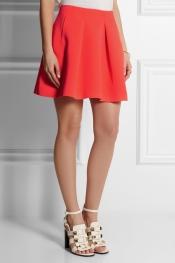 KENZO Pleated neon neoprene mini skirt