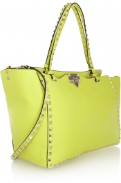 VALENTINO The Rockstud neon leather trapeze bag