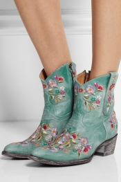 MEXICANA Sora embroidered distressed leather ankle boots
