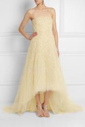 OSCAR DE LA RENTA Strapless embellished tulle gown