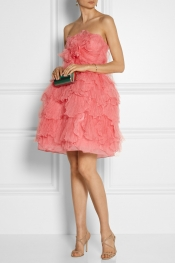 OSCAR DE LA RENTA Layered tulle and silk dress