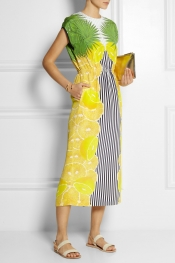 MOTHER OF PEARL Kara printed silk midi dress