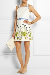 TORY BURCH Emilia printed cotton-blend ottoman mini dress