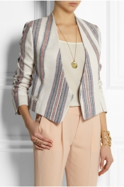 CHLOÉ Striped cotton and linen-blend blazer