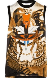 GIVENCHY Sleeveless printed silk top