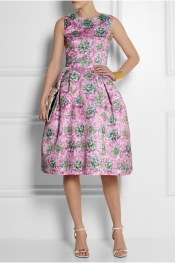 MARY KATRANTZOU Printed satin-twill dress
