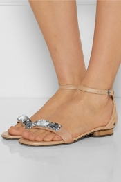 LANVIN Crystal-embellished leather sandals