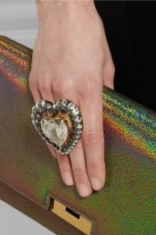 LANVIN Mira gold-tone crystal heart ring