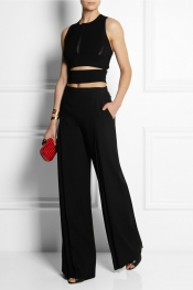VERSACE Open-back ribbed-knit top