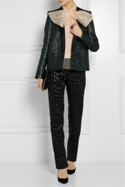 LANVIN Metallic silk-blend cloqué tapered pants