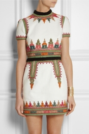 VALENTINO Embroidered cotton-canvas mini dress