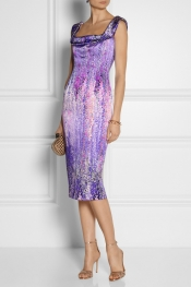 L'WREN SCOTT Floral-print stretch-silk satin dress