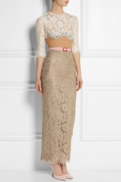 ALESSANDRA RICH Swarovski crystal-embellished lace gown