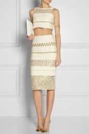 SUNO Metallic cotton-blend pencil skirt