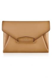 GIVENCHY Antigona envelope clutch in camel vintage-effect leather