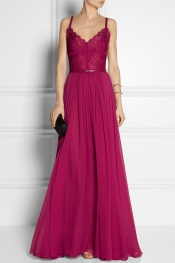 ELIE SAAB Georgette and lace gown