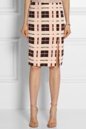 BY MALENE BIRGER Costanza checked silk-crepe pencil skirt