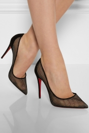 CHRISTIAN LOUBOUTIN Follies Resille 100 suede-trimmed mesh pumps