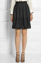 ALICE BY TEMPERLEY Madison laser-cut crepe de chine skirt