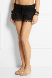 EMAMÓ Lace and crocheted cotton shorts