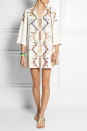 KATE MOSS FOR TOPSHOP Embroidered shantung mini dress