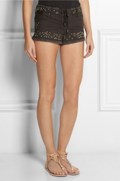 KATE MOSS FOR TOPSHOP Embellished stretch-denim shorts