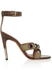GIVENCHY Agata sandals in army-green canvas and leather with crystals