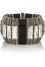 LANVIN Victoria gold-tone, Swarovski crystal and resin bracelet