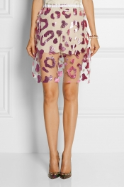 JULIEN DAVID Foil-print tulle skirt