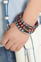 MISSONI + V&A set of three palladium-plated woven bracelets