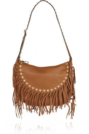VALENTINO Rockee Hobo fringed textured-leather shoulder bag