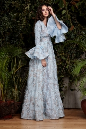 Blue Floral Evening Dress