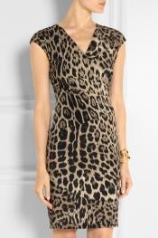 ROBERTO CAVALLI Leopard-print stretch-jersey dress