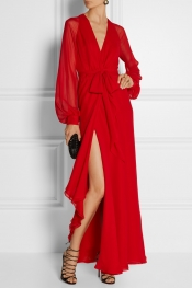 HANEY Coco silk-chiffon wrap gown