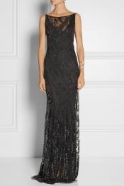 DONNA KARAN Embellished tulle gown
