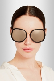 LINDA FARROW Square-frame acetate and gold-tone sunglasses