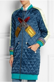 HOUSE OF HOLLAND Embroidered quilted satin coat
