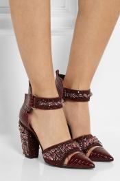 NICHOLAS KIRKWOOD Embellished croc-effect leather pumps